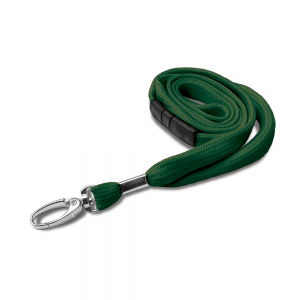 Dark Green Lanyards with Breakaway and Metal Lobster Clip - Pack of 100