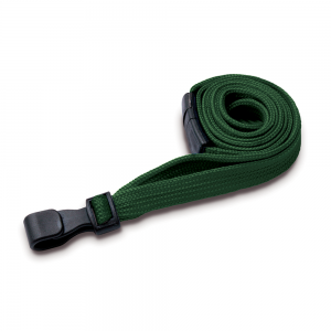 Dark Green Lanyards with Breakaway and Plastic J Clip - Pack of 100
