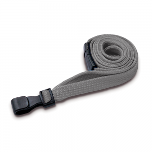 Grey Lanyards with Breakaway and Plastic J Clip - Pack of 100