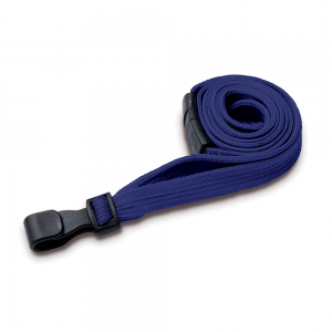 Navy Blue Lanyards with Breakaway and Plastic J Clip - Pack of 100