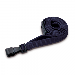 Dark Blue Lanyards with Breakaway and Plastic J Clip - Pack of 100
