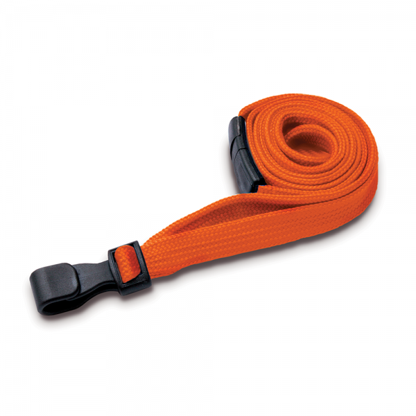 Orange Lanyards with Breakaway and Plastic J Clip - Pack of 100