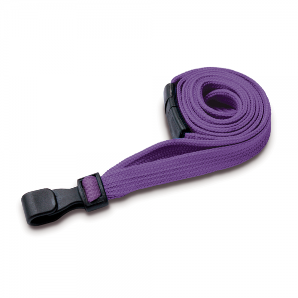 Purple Lanyards with Breakaway and Plastic J Clip - Pack of 100