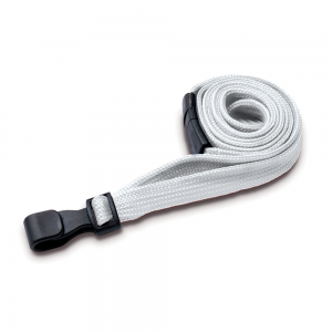 White Lanyards with Breakaway and Plastic J Clip - Pack of 100