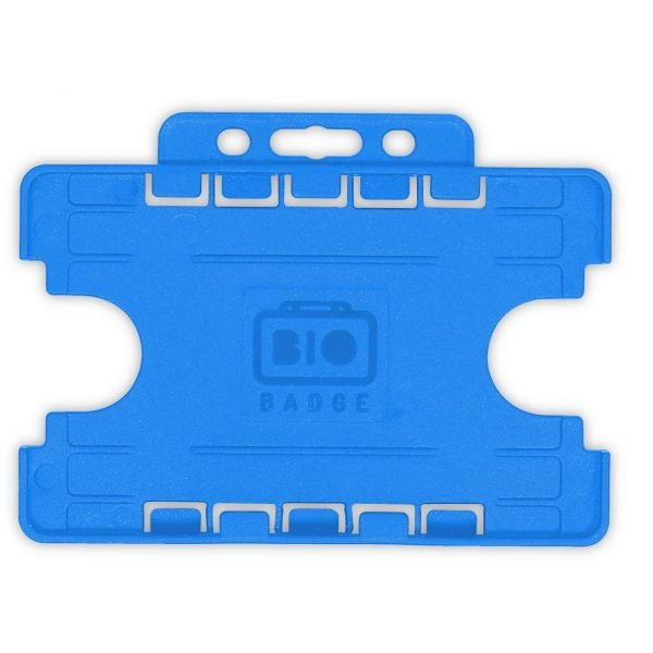 Light Blue Dual Sided Open Faced ID Card Holders Landscape